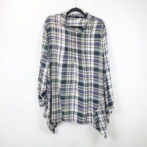 Cato Plaid Popover Long Sleeve Tunic Top